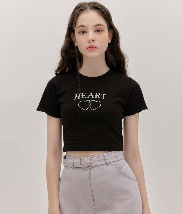 HEART CLUB Black Glittered Print Crop T-Shirt