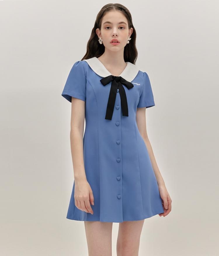 HEART CLUBContrast Collar Indie Blue Dress