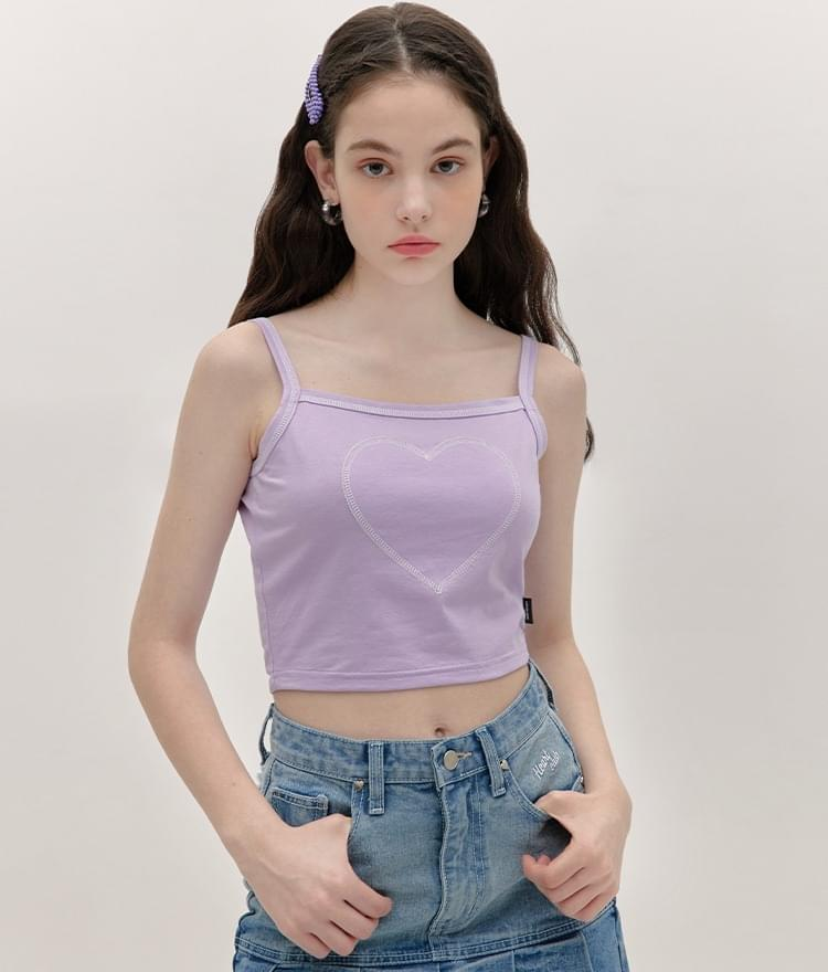 HEART CLUBContrast Stitch Light Purple Sleeveless Top