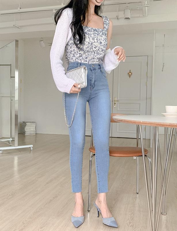 blue rose bustier blouse