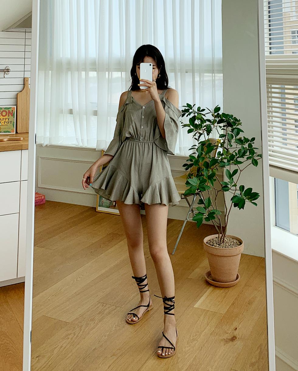 Linen shoulder jumpsuit