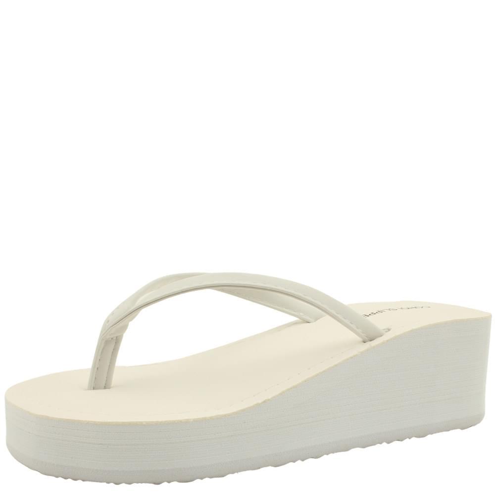 Wedge heel middle flip flops slippers white