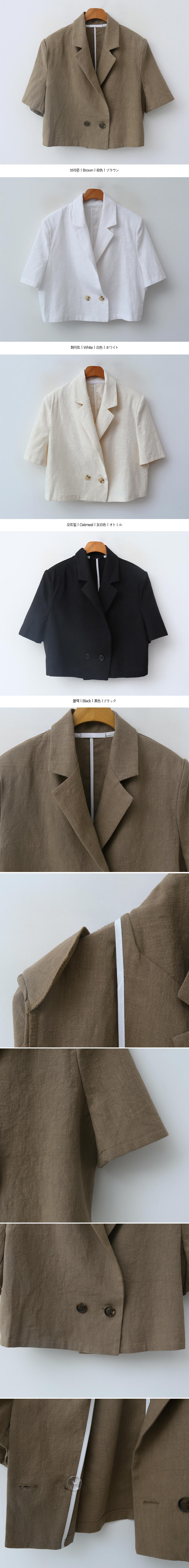 肩パッド付きダブルボタン半袖クロップドリネンジャケット