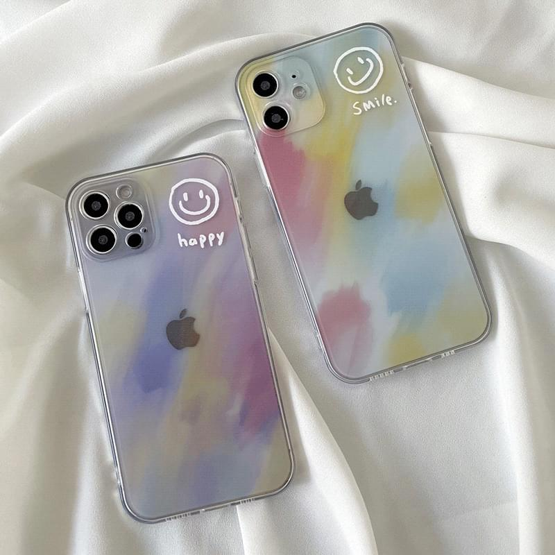 Smile pastel paint painting iPhone case