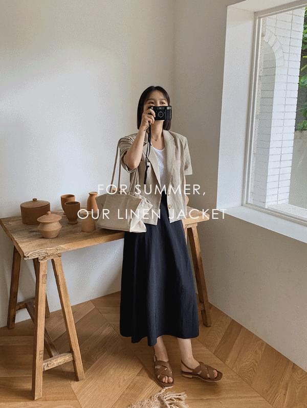 Milk Short Sleeve Linen Jacket - Linen 100%