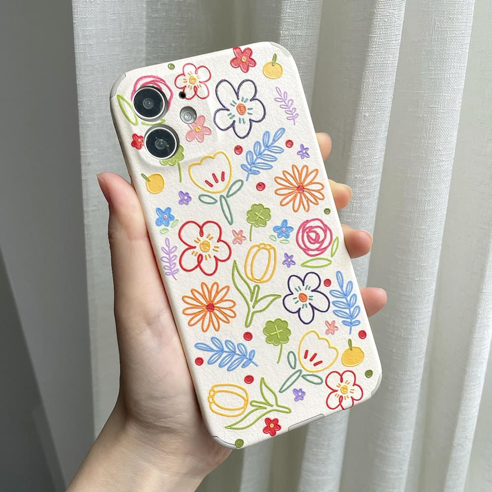 three-dimensional pattern colorful flower flower iphone case