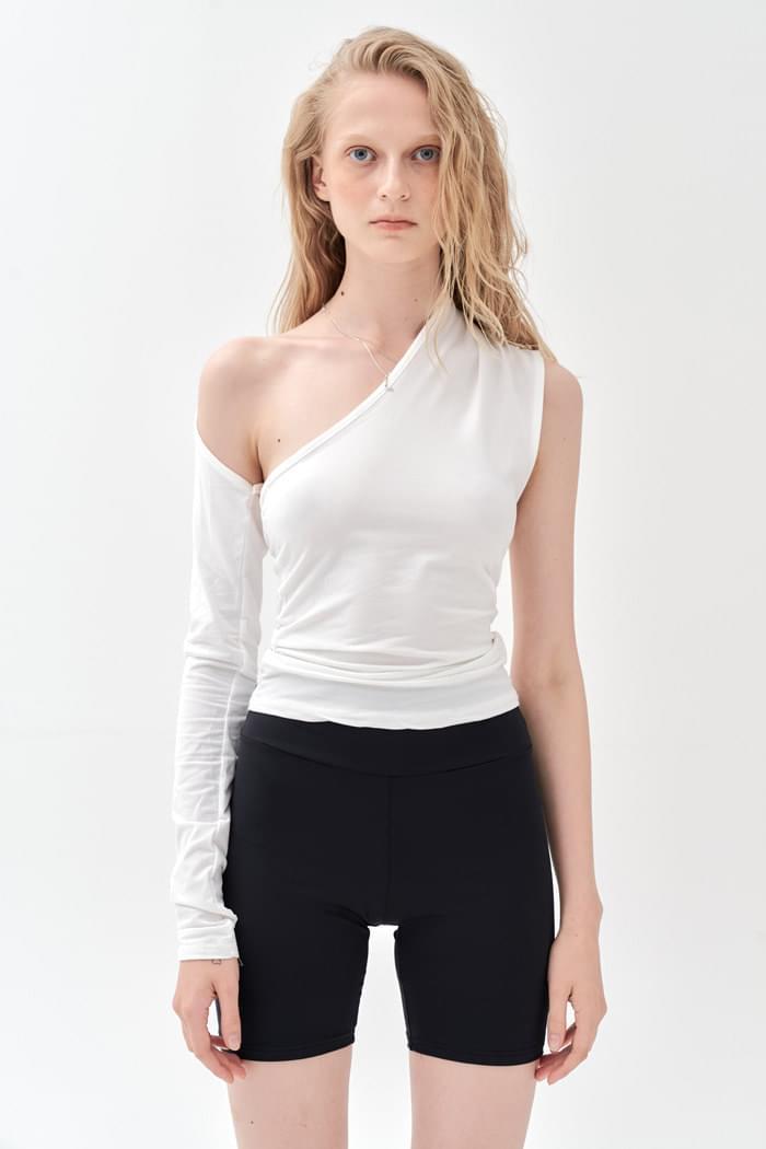 Unbalance Long Sleeve Top White
