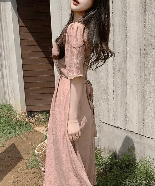 V-Neck waist strap short sleeve long Dress in a dream