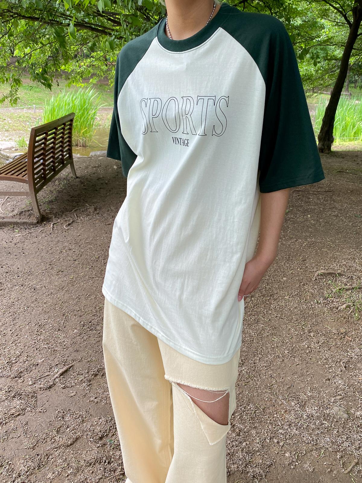 반팔 티셔츠 모델 착용 이미지-S1L18