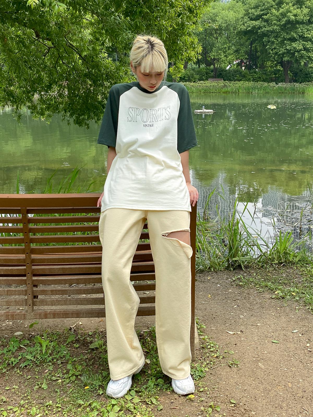 반팔 티셔츠 모델 착용 이미지-S1L19