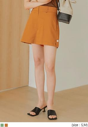 Buttoned Tab Accent Mini Shorts
