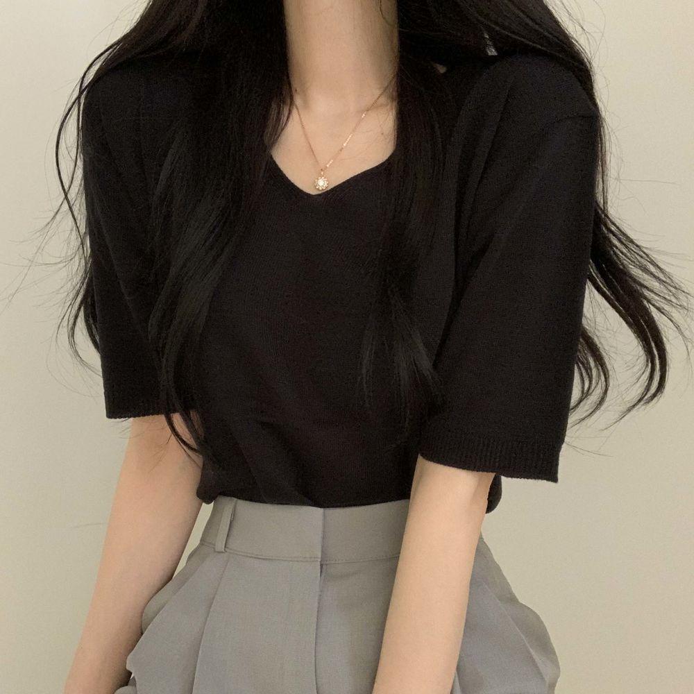 Simple Daily V-Neck Short Sleeve Knitwear