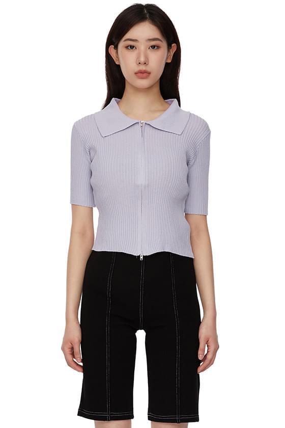Bubble Collar Zip-Up Knitwear Cardigan