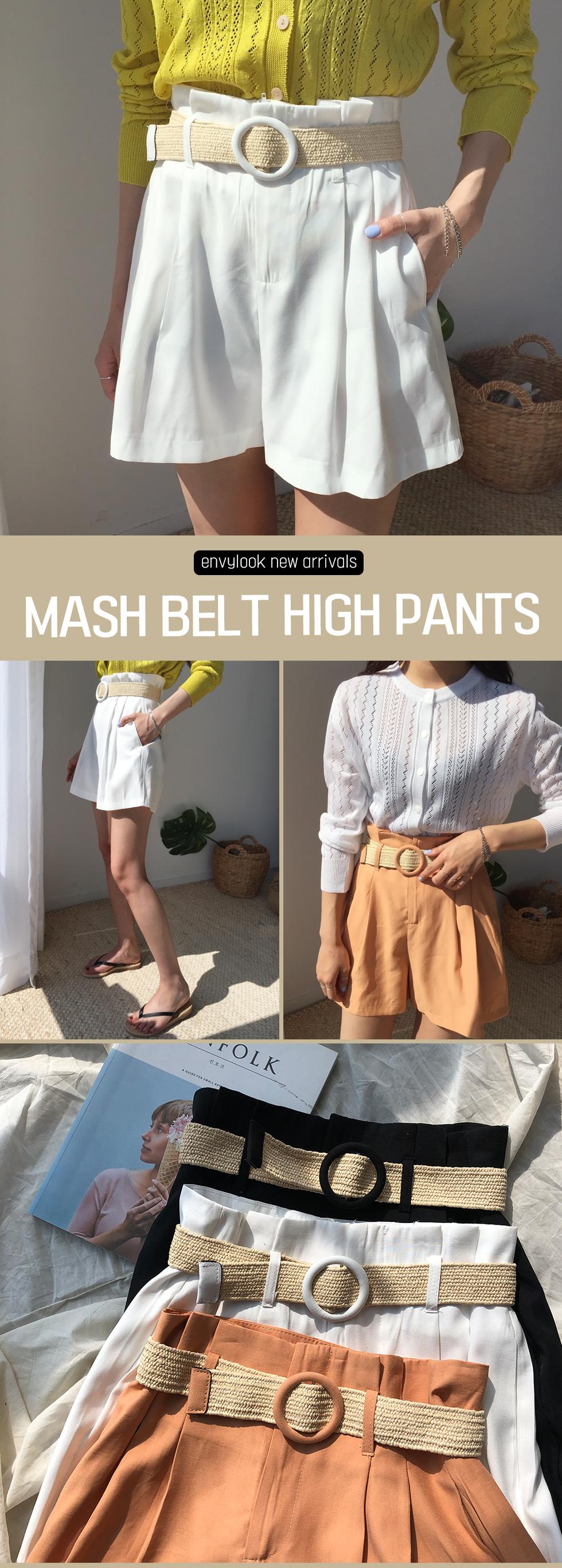 Mesh belt high half pants