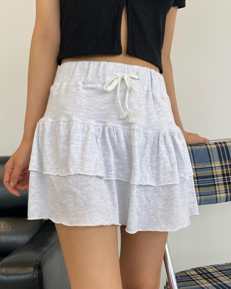 Banded Cotton Cancan Mini Skirt