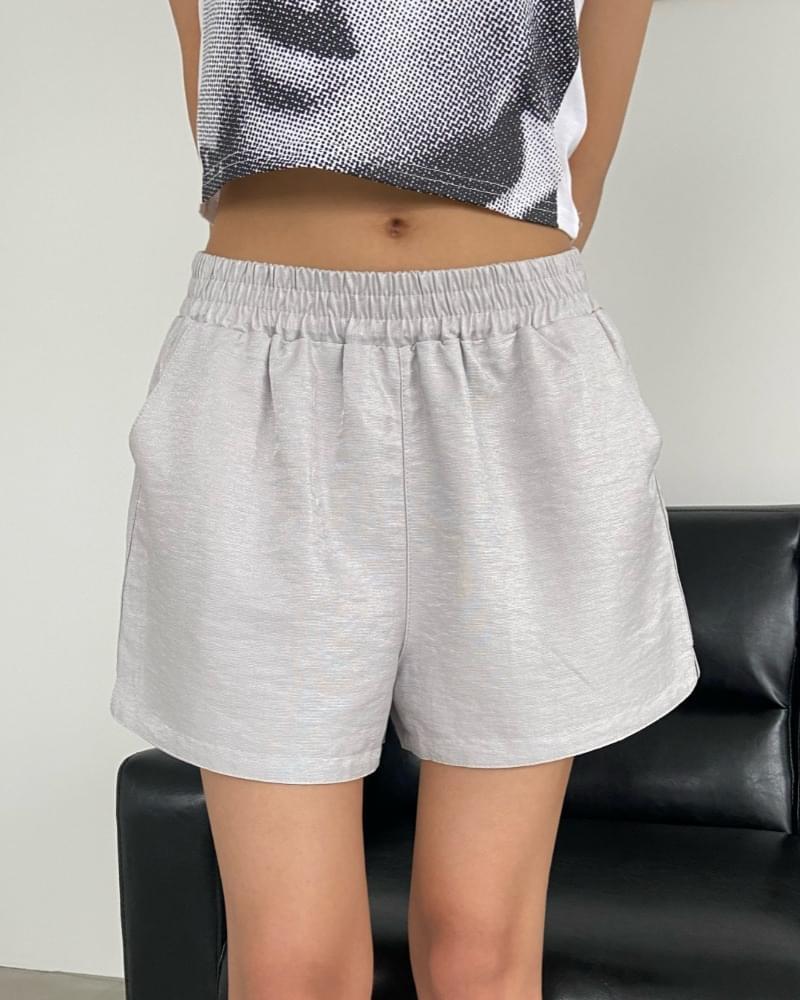 Shiny Banding Short Pants