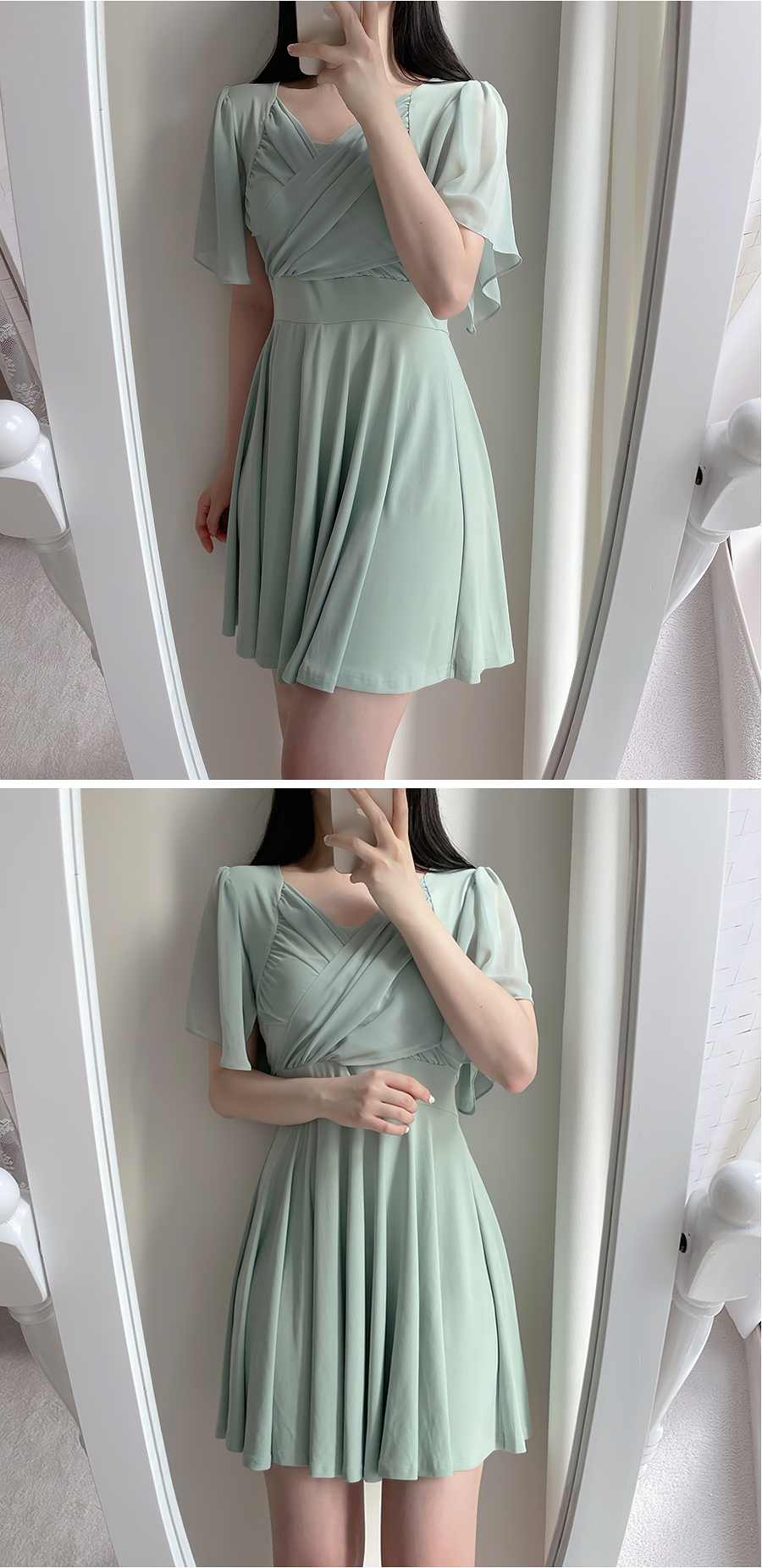 Athens Shirring Wrap Dress 3color