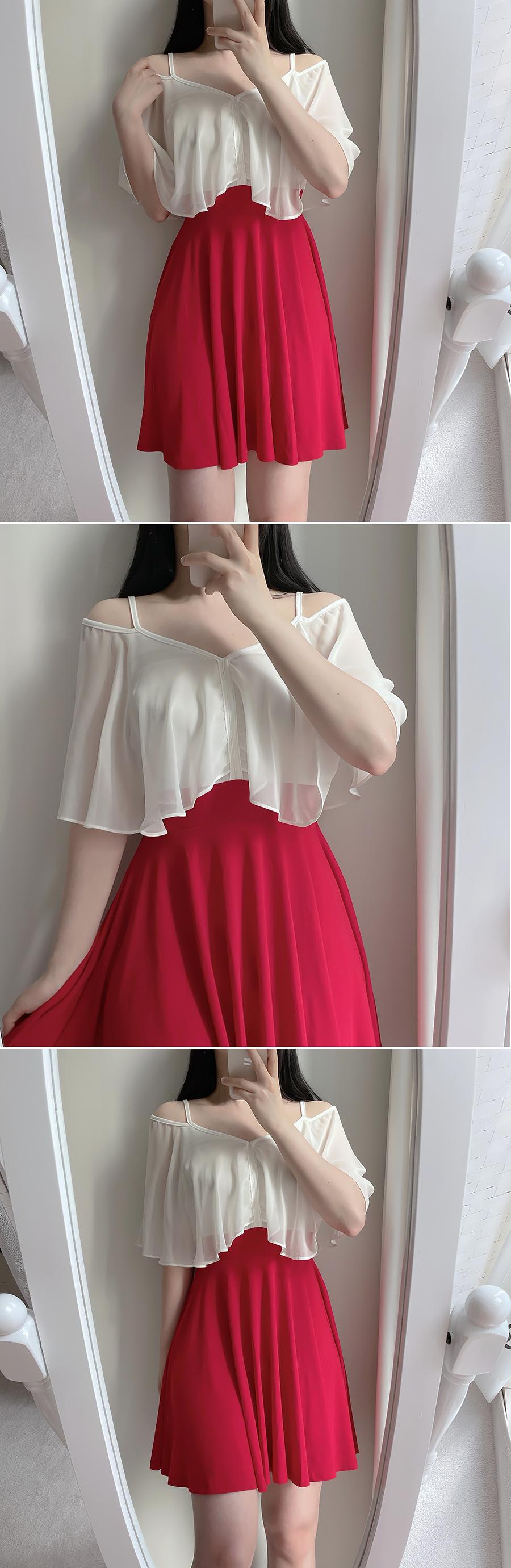 The Bay Color Matching Off Shoulder Dress 2color