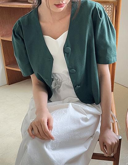 dino linen cropped blouse jacket