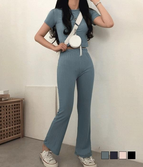 Lightweight cropped Flared two - piece set