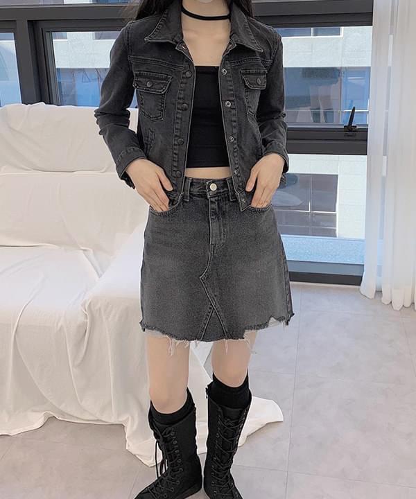 black denim short jacket