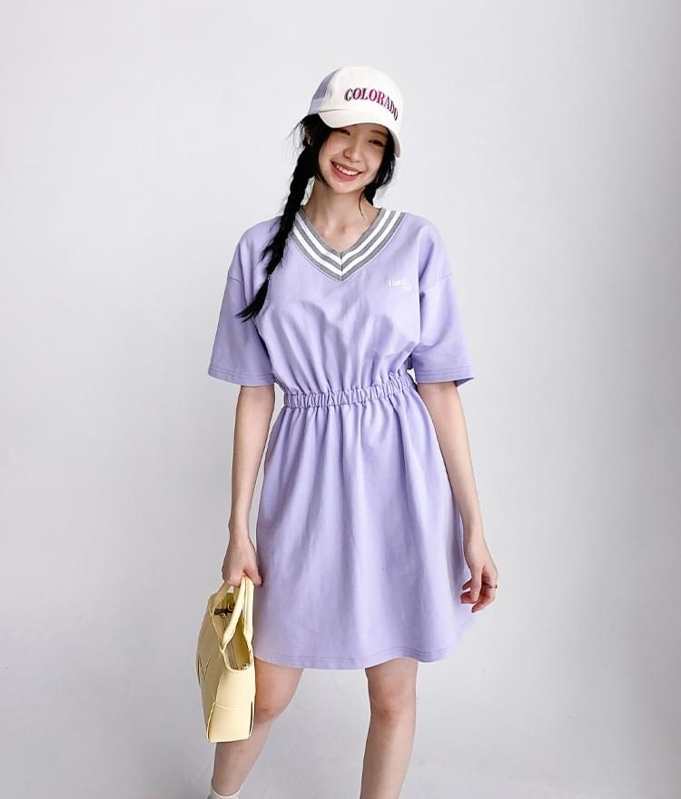 HEART CLUBLight Purple V-Neck Dress
