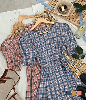 Jane Check Linen Mini Dress