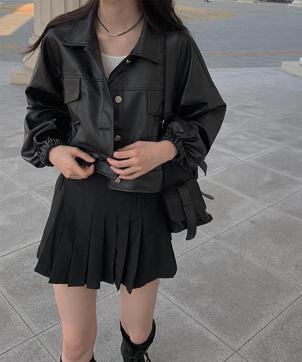 black leather cropped jacket