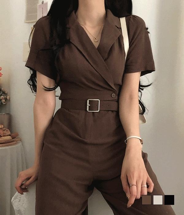 Malibu Linen Collar Belt Jumpsuit