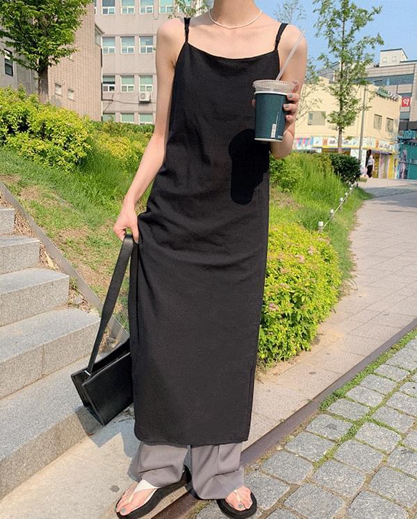 #made some linen bustier long wrap Dress