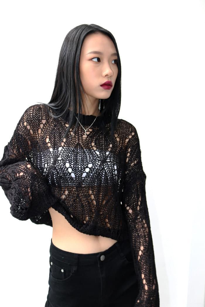 Argyle Black Net Knit