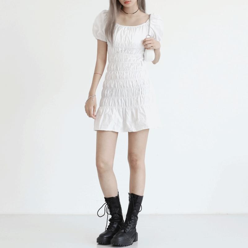Offin shirring mini Dress