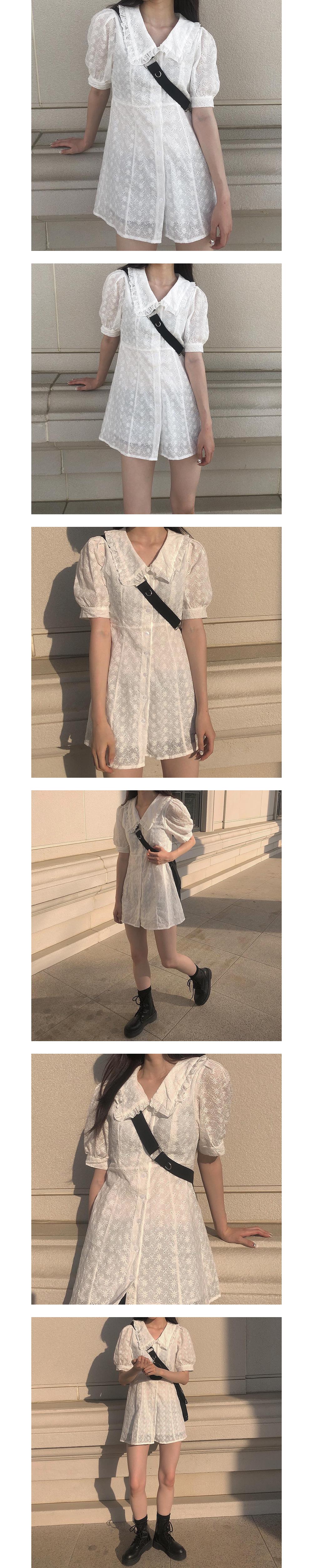 El shirring collar Dress