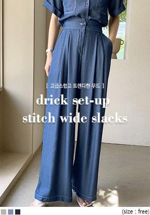 High Waist Pleated Wide Leg Slacks