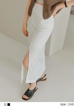 Off-Center Slit Long Skirt