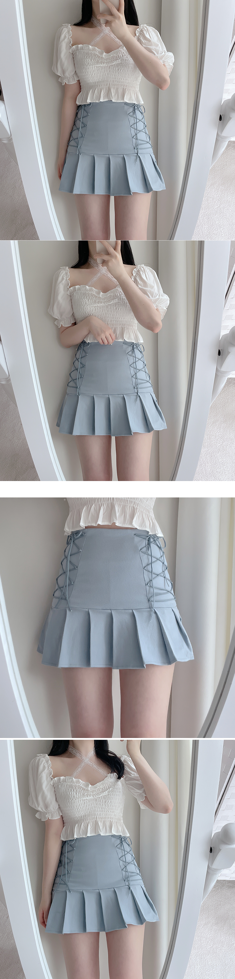 Wrench Eyelet Mini Skirt 3color