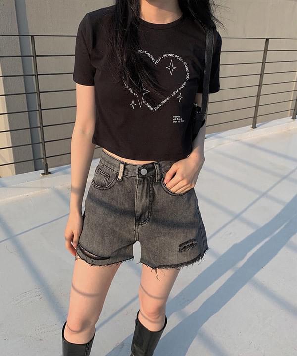 Black Denim cut shorts