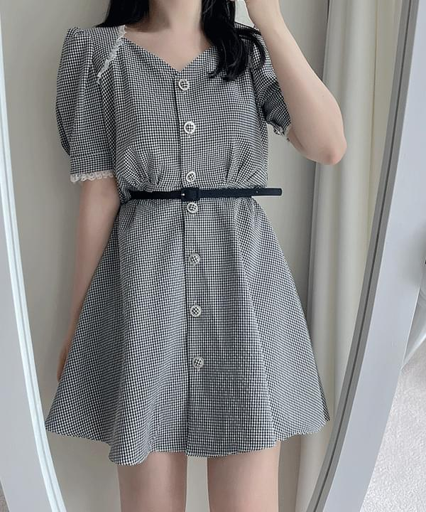 Baby Check Lace Dress 2color