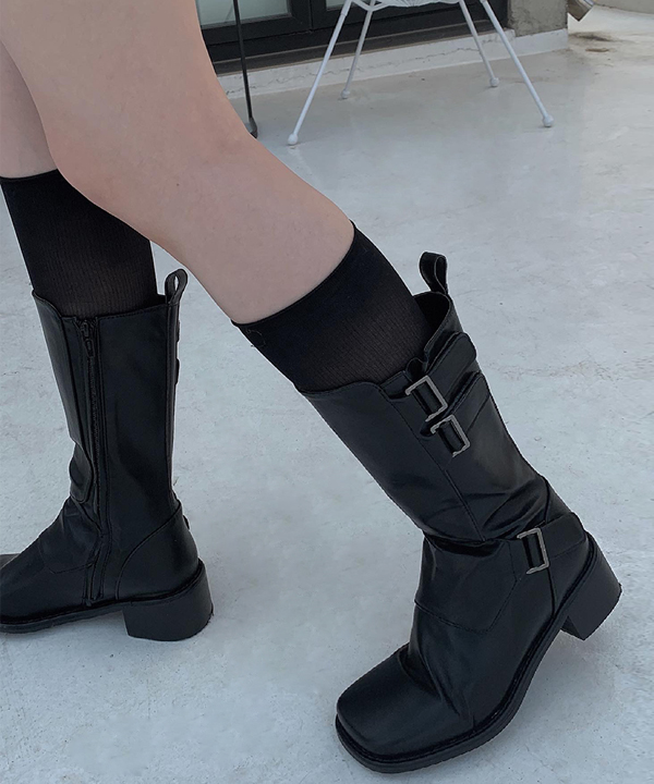 three buckle long boots