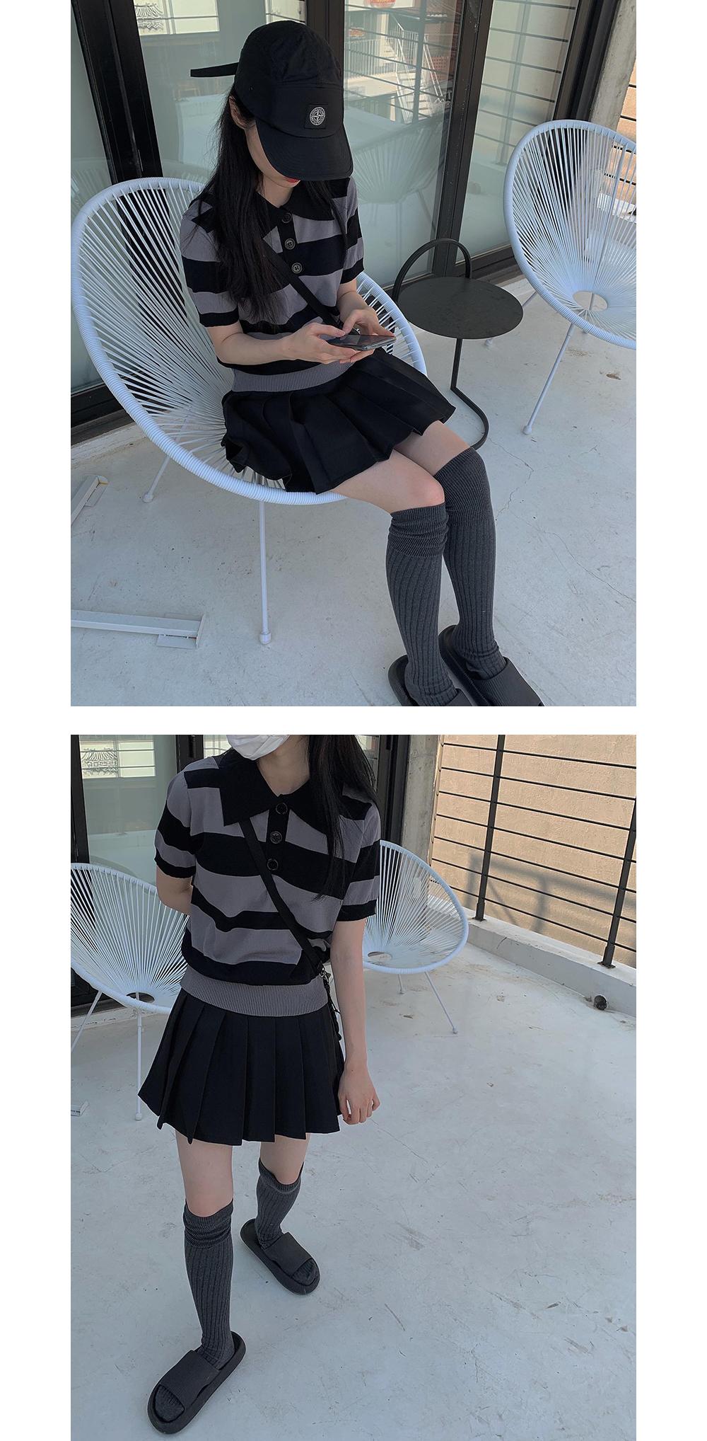 Striped Button Collar Short Sleeve Knitwear