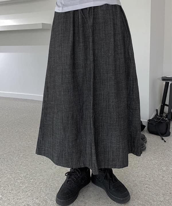 H-line Black Denim Cotton Denim Long Skirt