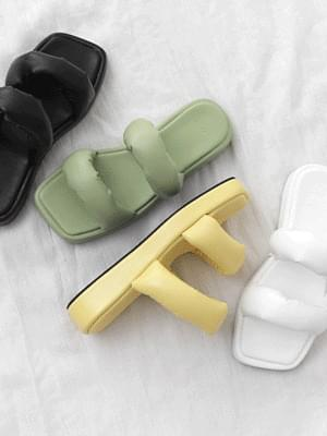 Square outsole volume double strap whole heel slippers 9138