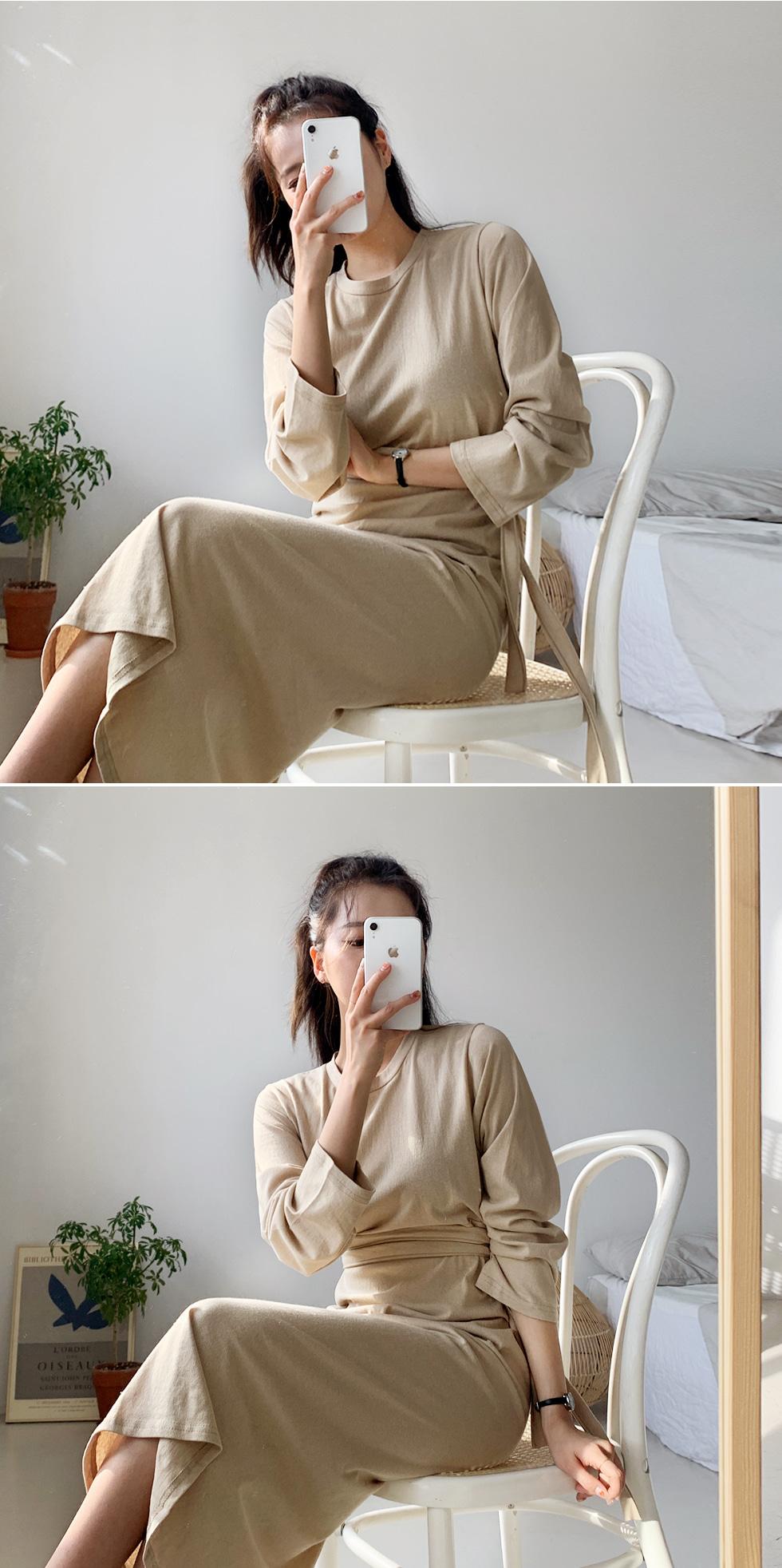 Plain long-sleeved dress
