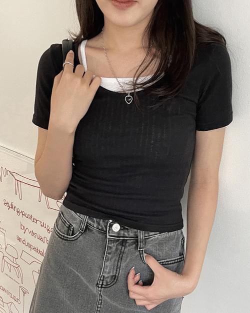 Lauren deep U-neck Ribbed short-sleeved T-shirt