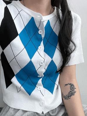 Kyle Argyle Pattern Knitwear Cardigan