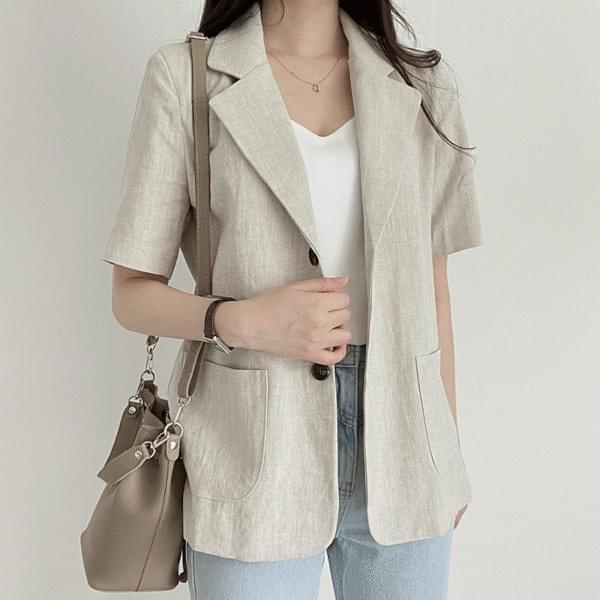 formal linen short sleeve jacket