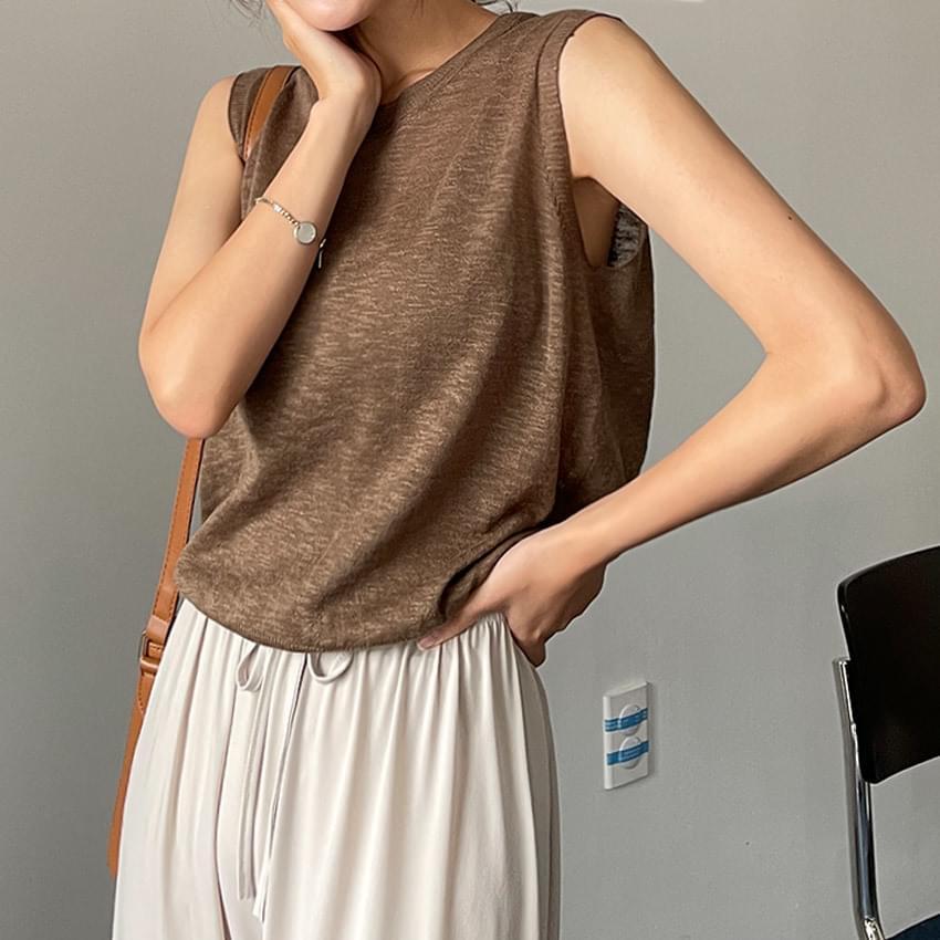 Fresh Linen Sleeveless Knitwear