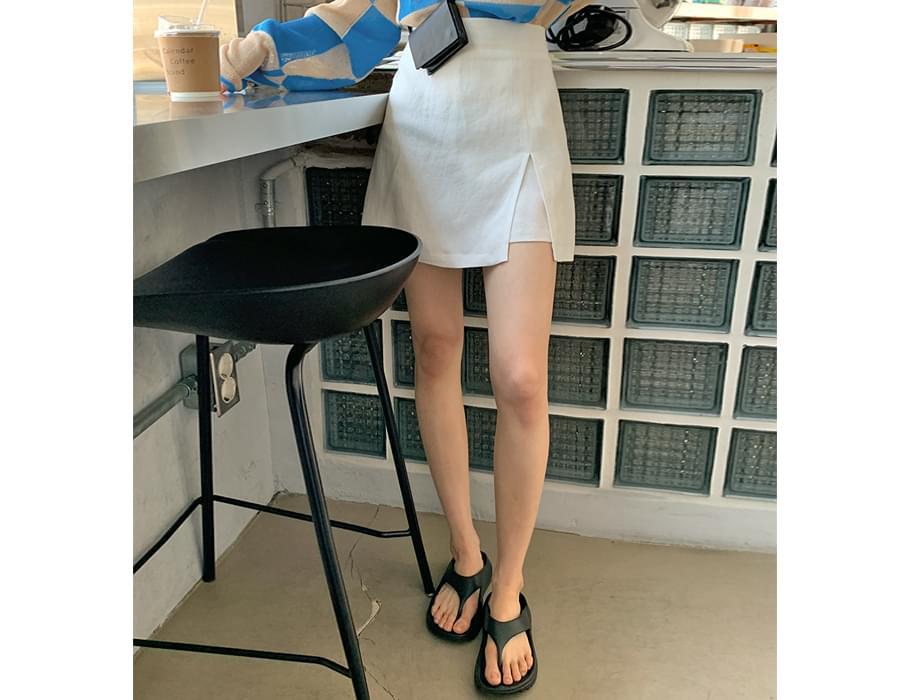 Linen Banding Culottes Skirt