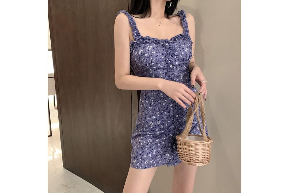 Purple Slim Ruffle Sleeveless Dress