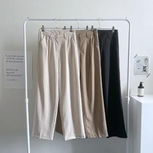 High waist pintuck wide slacks